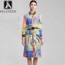 AELESEEN 2019 春ヴィンテージドレス 夏のファッション長袖ベルトエレガントなデザイナープリントドレス女性