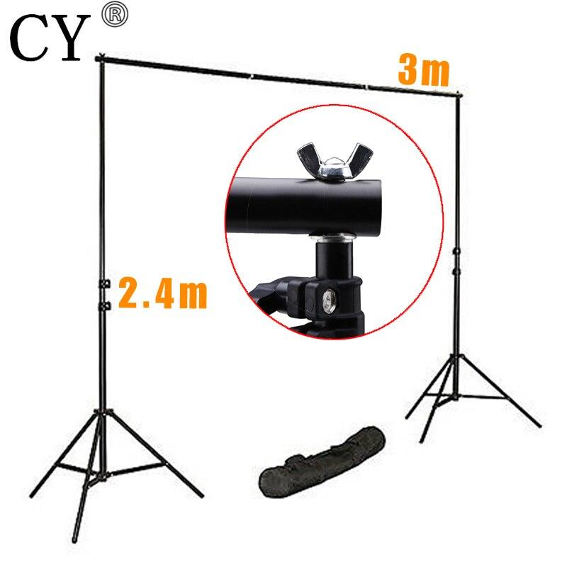 CY Pro Photography Studio Background Support System Kits 240cm Light Stand x2+75cm Cross Bar x4 Fotografia Photo Background S 10 20feet 300 600cm background deep meters blank flax fotografia