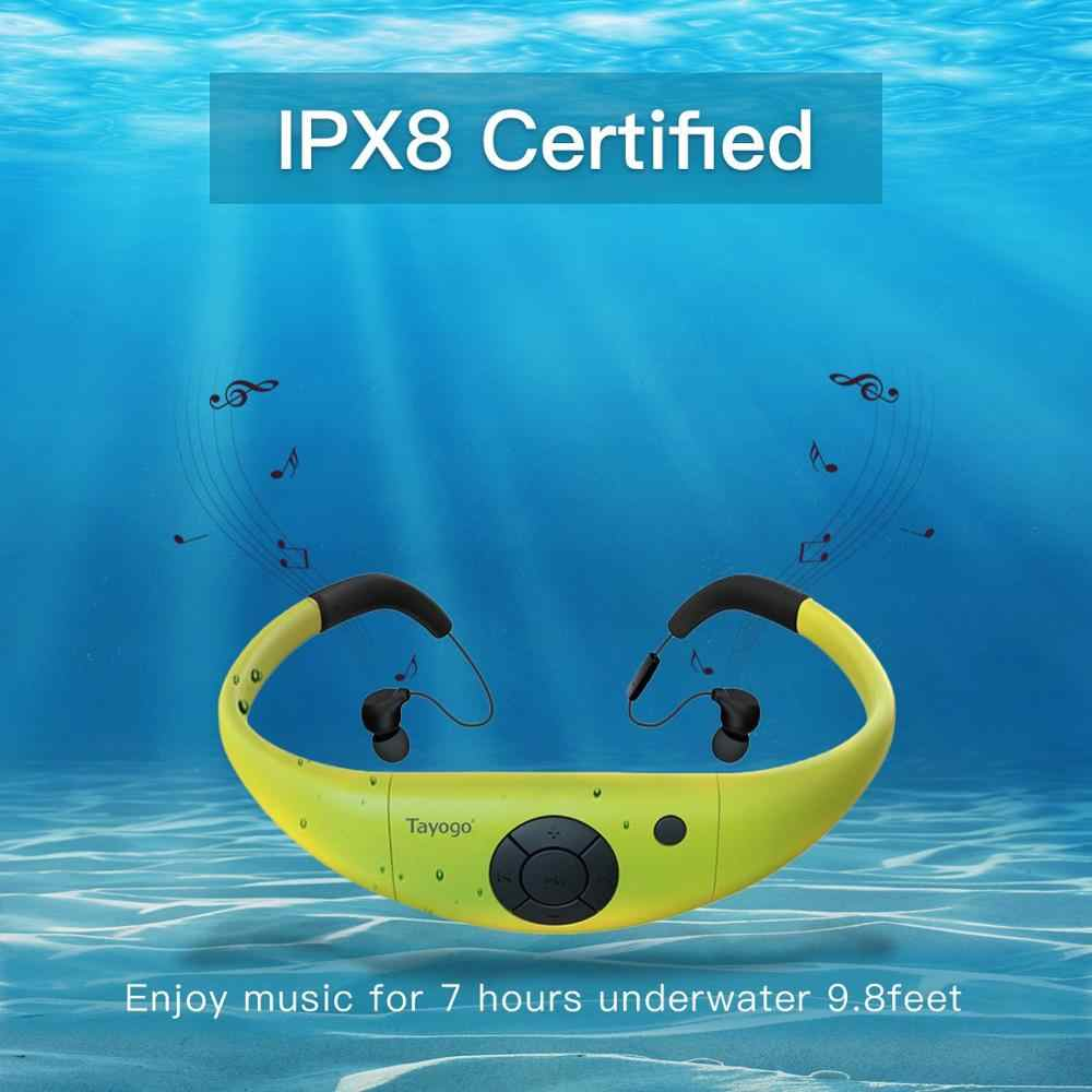 Tayogo IPX8 100% 防水 MP3 水中スポーツ水泳 MP3 音楽プレーヤー bluetooth ヘッドフォン fm Pedo 水泳用