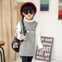 Girl S Shirt Autumn Winter New Children Jacket Plus Velvet Thickening Long Section Warm T Shirt