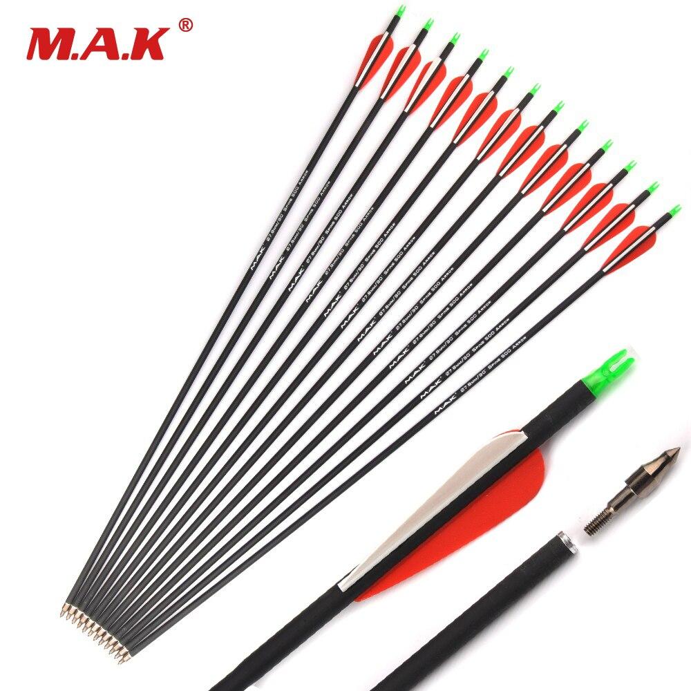 12/24/36 Pcs Coluna de Carbono Misturado Arrow 28/30 Polegadas 500 7.8 milímetros de Diâmetro para o Composto/Recurvo arco e Flecha Tiro de Arco E Flecha