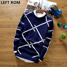 LEFT ROM 2017 men good autumn fashion sweater hedging sweater slim casual T-shirt bottoming shirt coat cotton print man sweater
