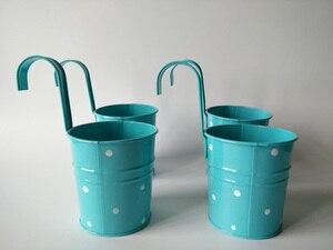 Image 4 - Cestas colgantes para jardín de infantes, 10 unidades/lote, d9.5 x 17cm, cestas de metal para balcón, diseño de lunares de colores