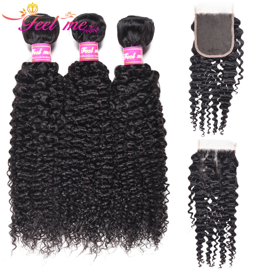 Feel Me Hair Kinky Curly Bundles With Closure Peruvian Human Hair Weave Non-Remy 4*4 Lace Closure Free Part 4Pcs Natural Color