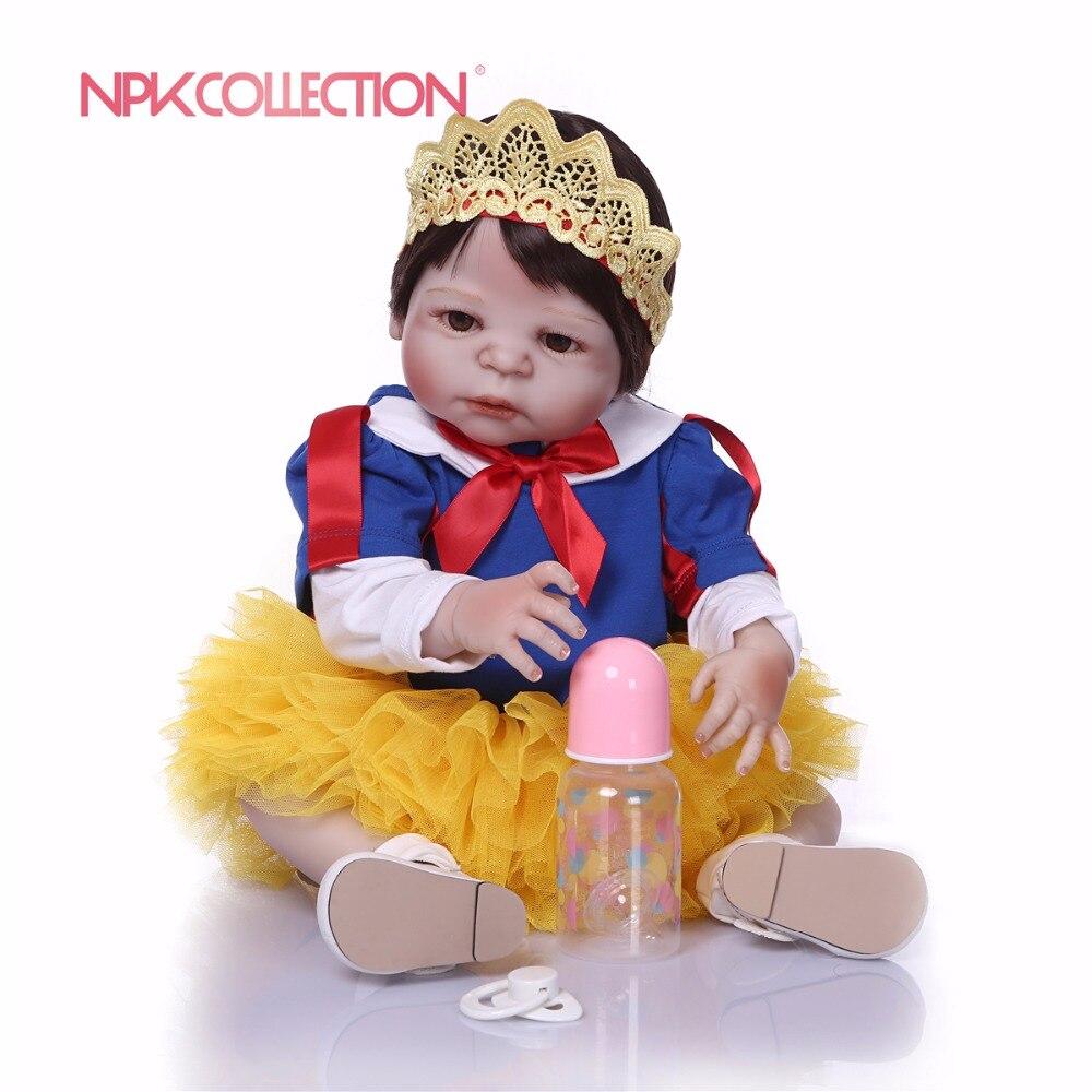 NPK 57 CM neige blanc corps entier Silicone fille Reborn bébés poupée jouets princesse bébés poupée perruque cadeau d'anniversaire cadeau de noël