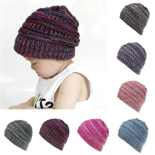 Toddler Infant Baby Hats Kids Boys Girls Color Mixture Knited Woolen  Headgear Children Winter Hat Caps casquette enfant 6M-4T ed97d24473f9