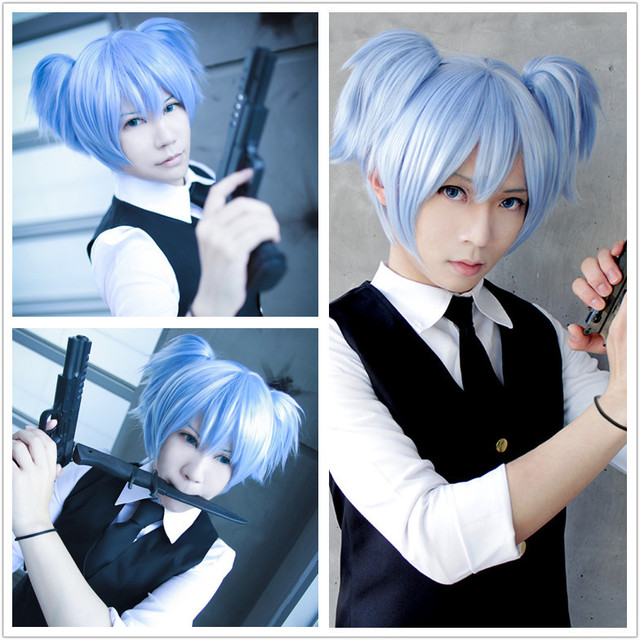 Mcoser New And Cheap Cute 30cm Short Ice Blue Pigtails