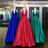 ZYLLGF Sexy Satin Prom Dresses For Women Long Halter Floor Length Zipper Beaded Formal Evening Party Gowns MC91