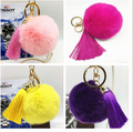 New fashion real rabbit fur ball keychain pompon Leather tassels Key chain Bag Pendant Fur Ball Plush Metal Keychain Key Holder