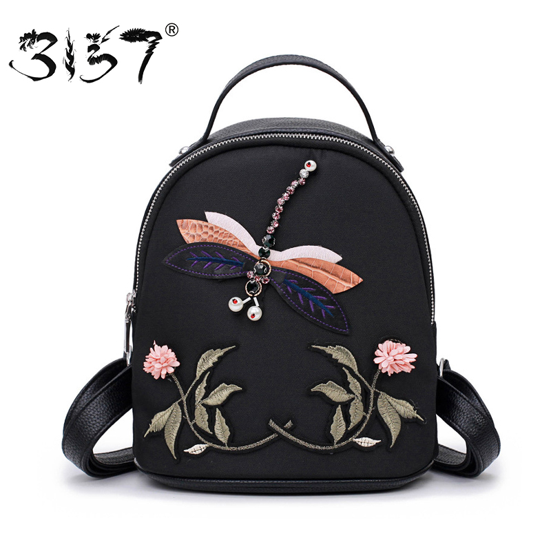 3157 Fashion Women Backpack High Quality School Bags for Teenage Girls Handmade Dragonfly Embroidery Shoulder Female Backpacks high quality crystal dragonfly brooches for women girl