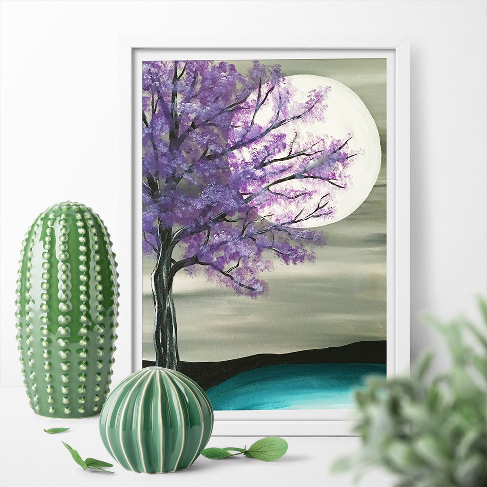Canvas Painting Purple Tree Big Moon Art Print Wall Art Print Poster Home Decor Picture Print For Bed Room No Frame