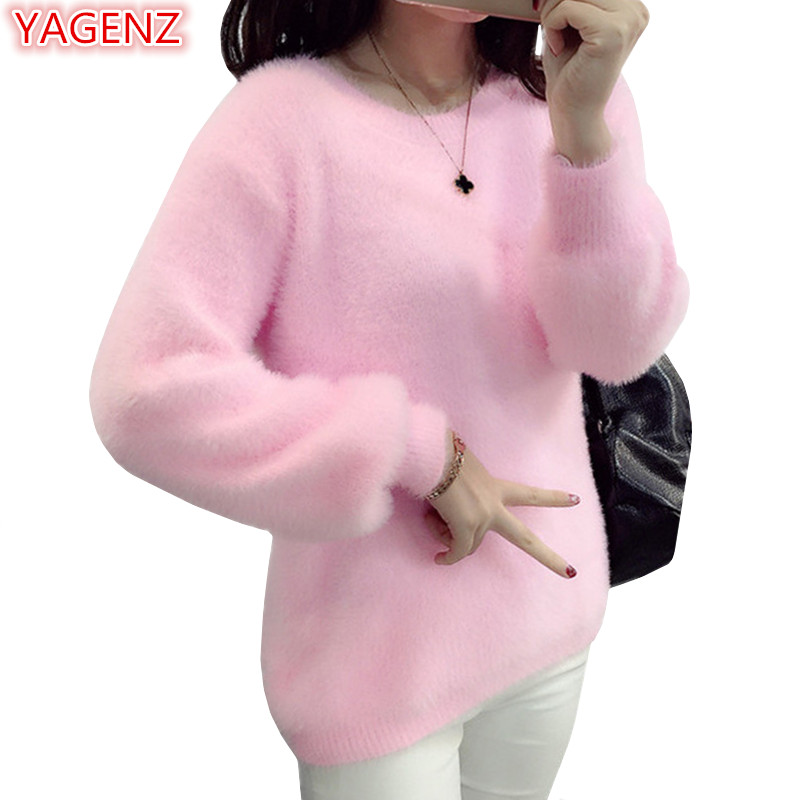 YAGENZ Fashion Short Knitted Sweater Women Tops Autumn Winter Clothes Women Sweaters And Pullovers Woman Clothes Pink Sweater715