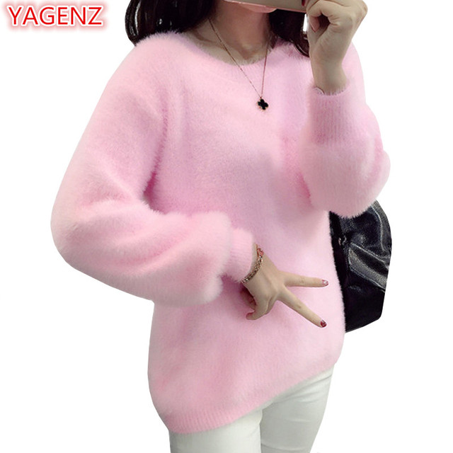 YAGENZ קצר סרוגים סוודרי נשים אופנה חולצות בגדי אישה בגדי חורף סתיו נשים וסוודרי ורוד Sweater715