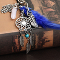Boho Dream Catcher Opal Stone Tassel Feathers Palm Pendant Keyring Keychain