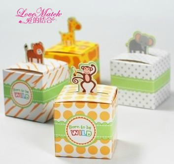 50Pcs Giraffe,Monkey,Tiger Elephant 4 Animals Baby Shower Favors,Birthday Party Boxes,Gift Boxes and Wedding Chocolate Box