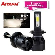 ATcomm 2 Pcs Turbo Ghiaccio H7 H4 LED 4300 K Mini Auto Lampadina H1 9005/HB3 9006/HB4 12 V 24 V 8000Lm COB LED H11/H8/H9 72 W HA CONDOTTO LA Lampada Auto