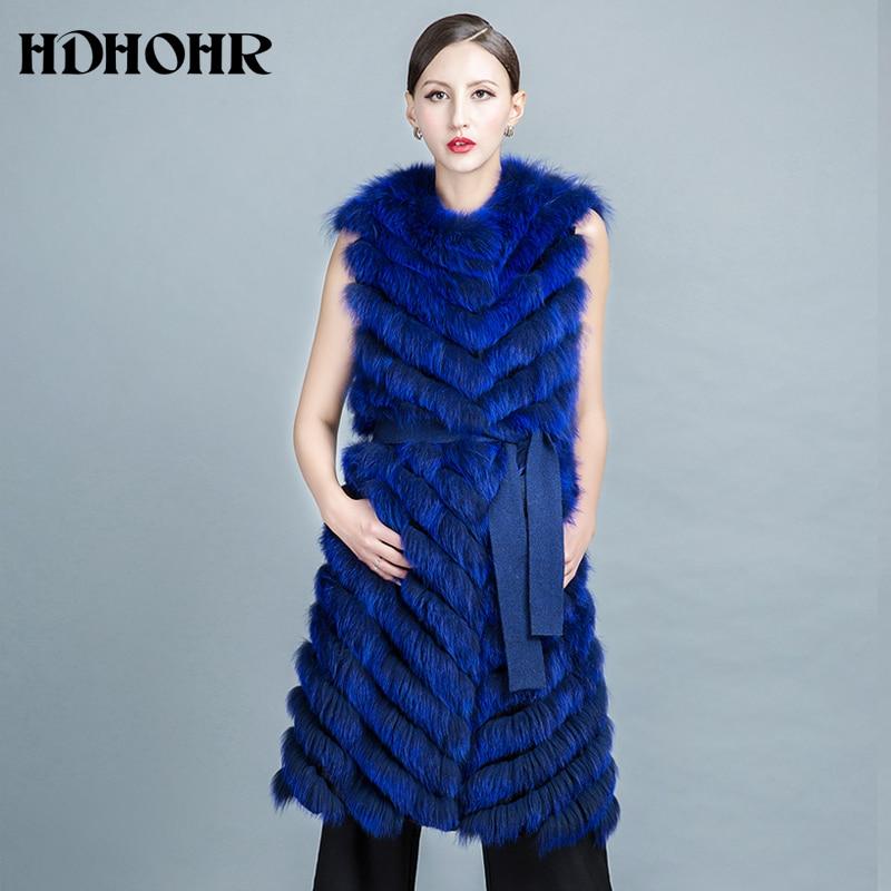 HDHOHR 2019 բարձրորակ Fox Fur Vest Long Fox Warm Women - Կանացի հագուստ - Լուսանկար 3