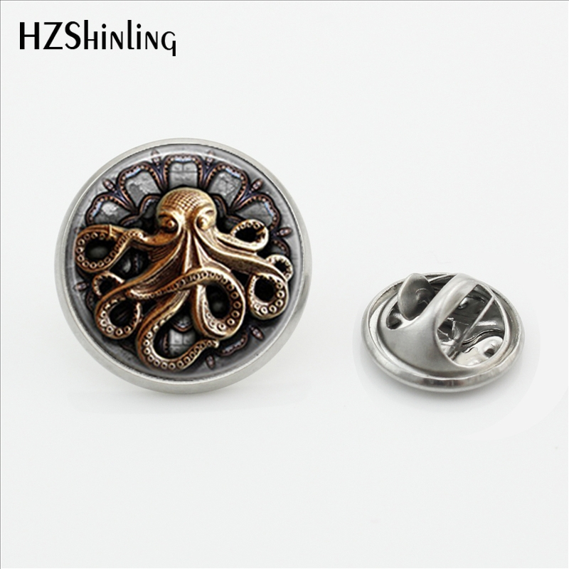 2018 New Arrival Steampunk Octopus Butterfly Clasp Pin Cartoon Painting Lapel Pins Gifts Men Women Glass Dome Art Jewelry broad paracord