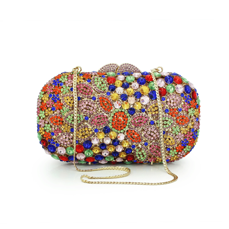 Multi colorful handmade hollow out crystal clutch bag gold chain evening party women handbags petal shape bags(88187A-B)