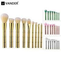 Vander 4 Renkler 9 adet/takım Bambu Şekilli Makyaj Fırçalar Set Vakfı Pudra Yüz Göz Allık Karıştırma Metal Kozmetik Makyaj araçları