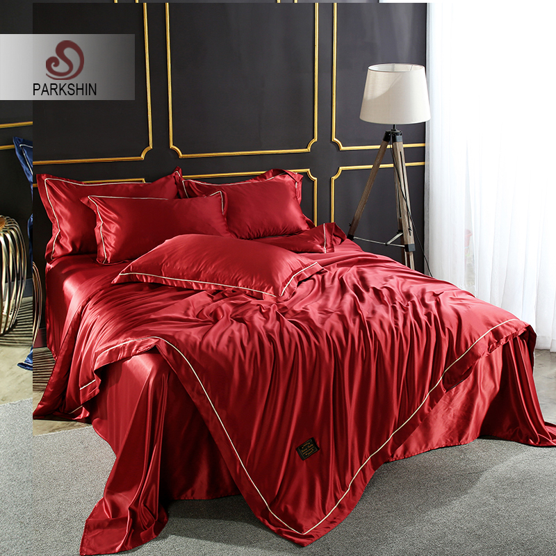 ParkShin Luxury Red Color Bedding Set 100% Silk Home Textiles Soft Comfortable Duvet Cover Silky Bed Set With Flat Sheet 4pcs