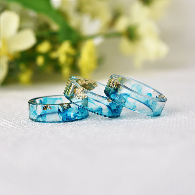 LIEBE ENGEL Hot Sale 8 Colors Gold Foil Paper Inside Resin Ring For Women And Men Jewelry Colorful High Quality Handmade Ring 2