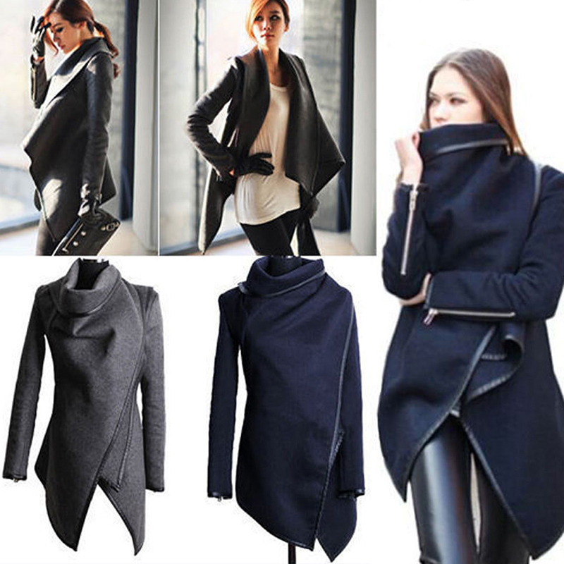 Winter/Spring Fashion Asymmetric Women Coat Windbreaker Female Slim   Trench   Coats 6 Colors Plus Size