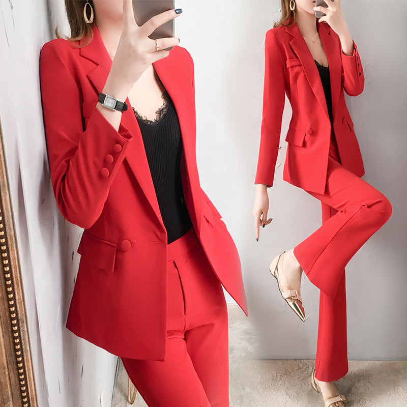 high quality Women's new slim double breasted temperament pink small suit OL jacket + casual elegant nine pants Business office