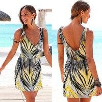 New Women print beach dresses sleeveless sexy floral print 2017 off shoulder chiffon backless dresses elegant vestidos