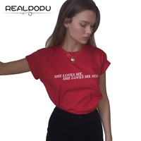 Realpopu 2017 Summer Casual Solid Print Letter T Shirt Women Loose Short Workout Club O Neck