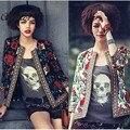 Mulheres Jaqueta 2016 Outono Moda Feminina Do Vintage Print Floral Fino Zipper Jaqueta Bomber Curto Casacos Básicos Bordado