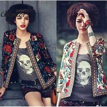 Women Vintage Jacket 2016 Autumn Ladies Fashion Floral Print Slim Zipper Short Basic Coats Bomber Jacket Embroidery