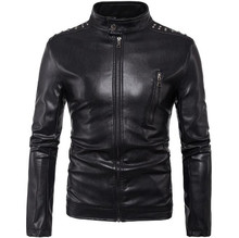 New Vintage Mens PU Leather Motorcycle Jacket Coat Men Stand Collar Slim Fit Multi Rivets Punk Moto Size M-5XL