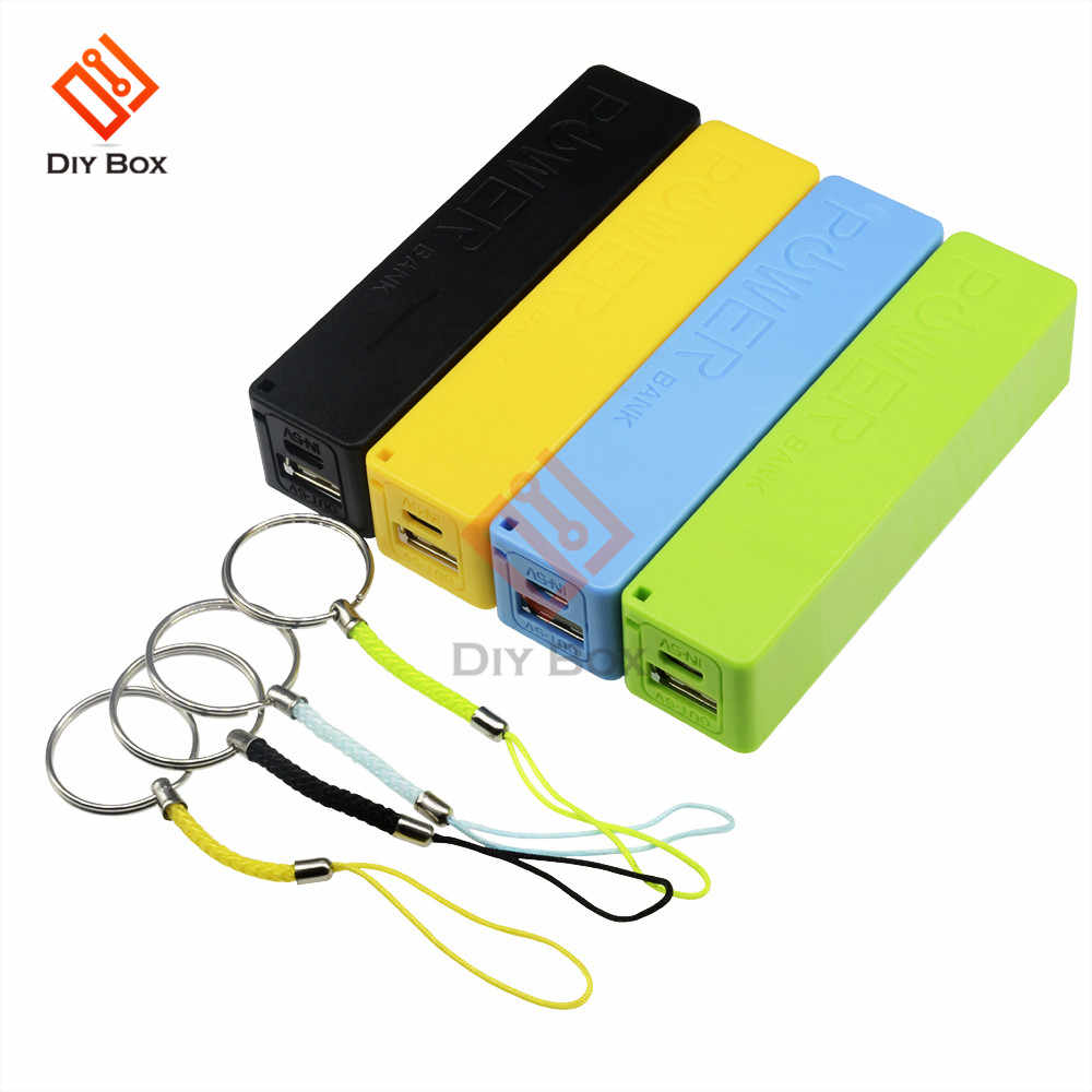 Portable Power Bank 18650 External Backup Battery Charger With Key Chain Green Black Yellow Blue White Pink DIY Charger Case