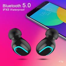 Kablosuz kulaklık ile bluetooth mikrofon su geçirmez kulaklık Stereo kulakiçi kulaklık ile şarj standı TWS gürültü iptal