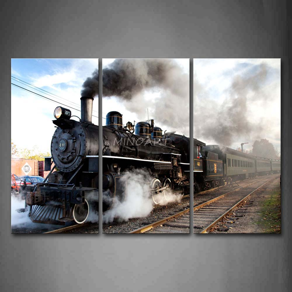 3 Piece Wall Art Painting A Car And Train With Gray Smoke