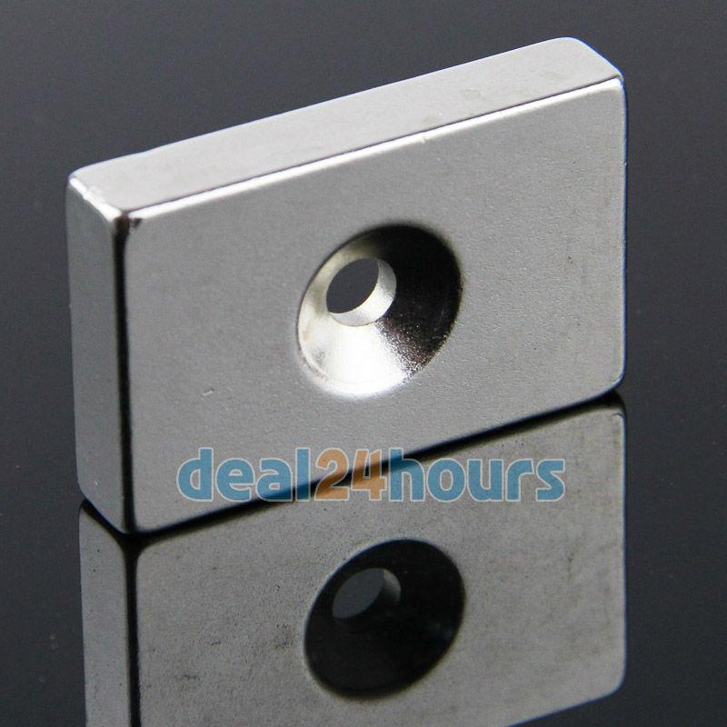 OMO Magnetics 1 x Big Neodymium Block Countersunk Ring Strong Magnets 40mm x 25mm x 8mm Hole 5mm N35 2pcs bulk strong ndfeb countersunk block magnets 40mm x 40mm x 20mm with single hole n35 neodymium square cuboid magnet
