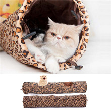 Funny Cat Tunnel Leopard Print Crinkly Cat 2 Holes Long Tunnel Pet Supplies Kitten Toys for Cat 2 Color 120cm*25cm 1pcs 2016