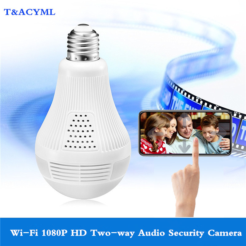 Video-Bulb Security-Camera Wireless Audio Two-Way Motion-Detection Surveillance 360-Night-Vision