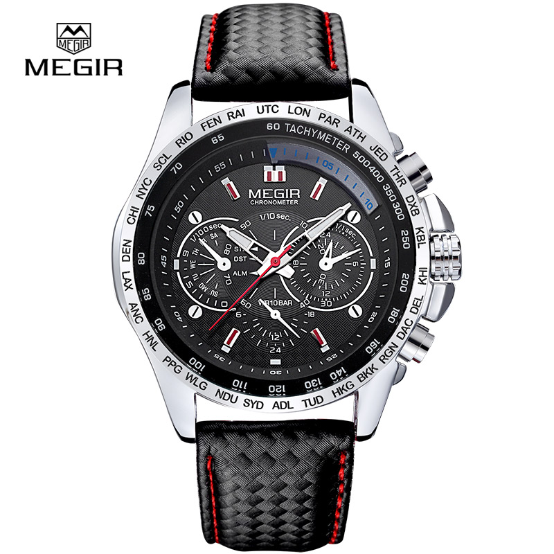 Megir 1010 fashion luminous quartz watch man casual leather brand watches men analog waterproof wristwatch for male hot hour