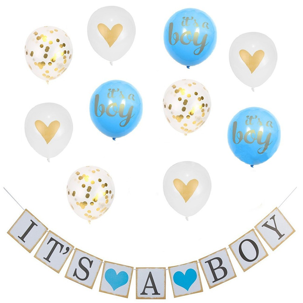 12pc Blue Owl Baby Boy Balloon Set Shower Gender Reveal Decorations Supplies
