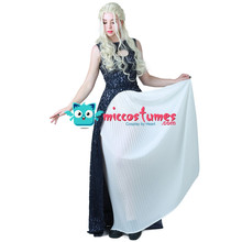Daenerys Targaryen Dark Navy Blue and White Dress Cosplay Gown  Costume(China) db0625d7c9439