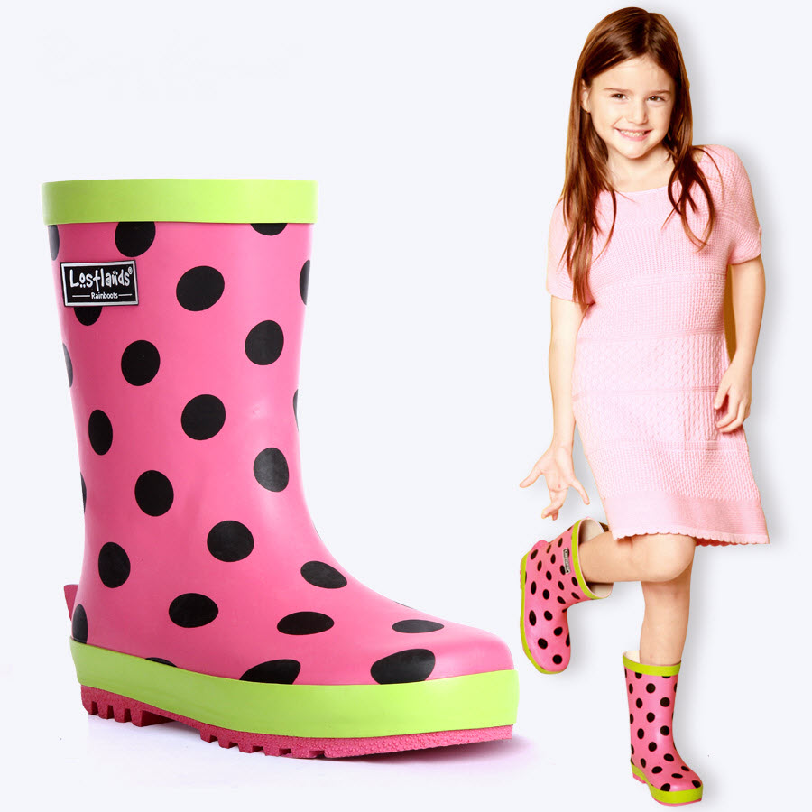 Kids students Girl rain boots children shoes Loverly Pink mit black spots Waterproof Overshoes Infant Baby Water Rubber Shoes 32 kelme 2016 new children sport running shoes football boots synthetic leather broken nail kids skid wearable shoes breathable 49