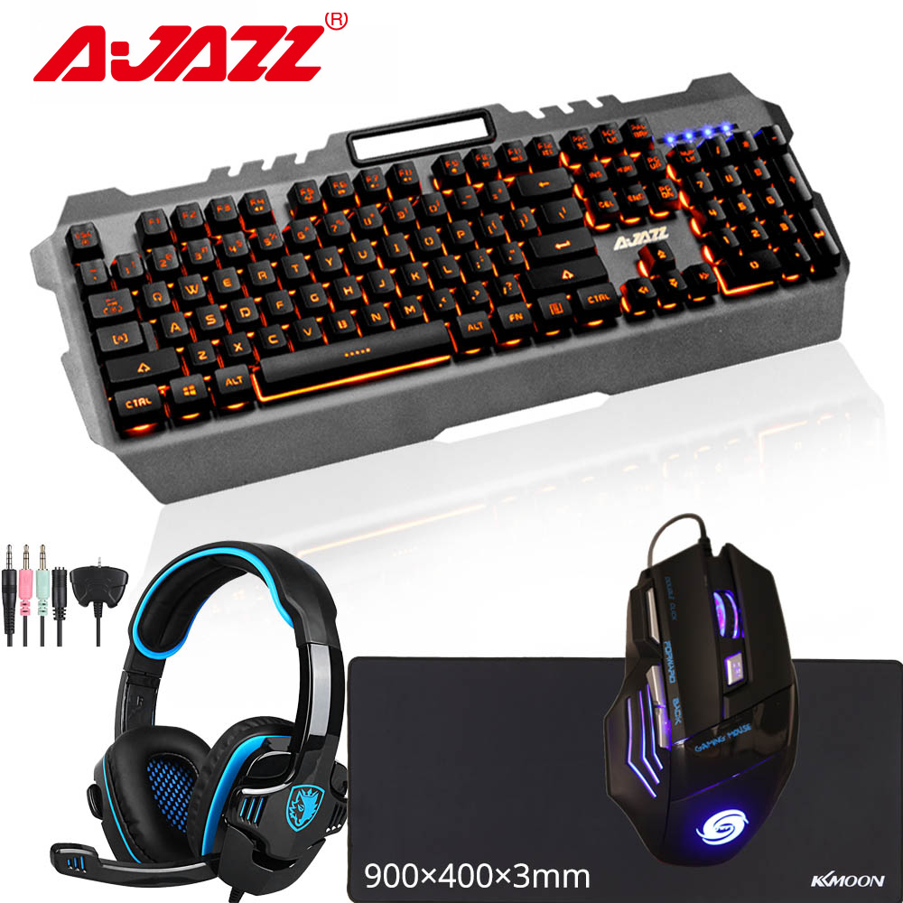 Wired Gaming Mouse 3 Button Optical Mouse USB Spill Proof Keyboard Stereo Gaming Headset Dual 3.5mm Jack RGB PC Gaming Accessories Combo Kit