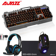 Combo USB Wired Gaming Mekanis Merasa PC Komputer Keyboard Backlight + Gamer Mouse Mouse + Ukuran Besar Mouse Pad + headset Headphone(China)
