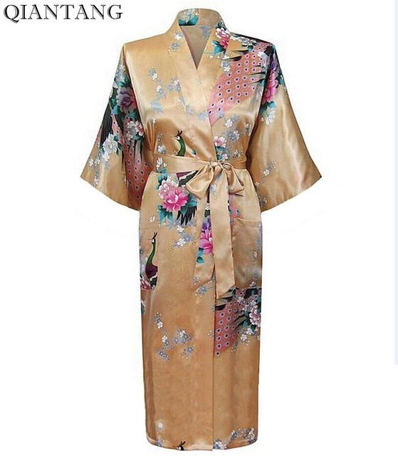 89d9b9c298 Fashion Gold Chinese Women s Silk Rayon Robe Kimono Bath Gown Lady Spring  Nightgown Mujer Pijama Size S M L XL XXL XXXL Xsz026A