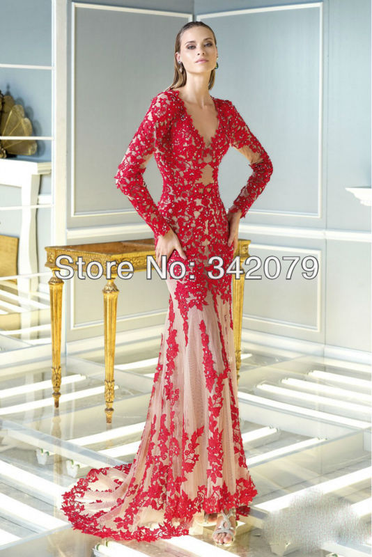 569e7abccb97 ph11750 Gorgeous sheer tulle and beaded lace applique long gown with long  sleeves and deep v-neck red carpet dresses. Price