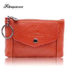 Фотография New Wallet High Quality Genuine Leather Women Mini Wallet Cowhide Leather Coin Purse Coin Credit Card Holder With Metal Key Ring