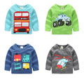 2016 Autumn Children'S Clothing Baby Boys Roud Neck Long-Sleeve Cotton Carton Print T-Shirt Basic Shirt Tops Free Shipping