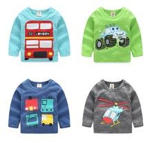 2016 Autumn Children'S Clothing Baby Boys Roud Neck Long-Sleeve Cotton Carton Print T-Shirt Basic Shirt Tops Free Shipping